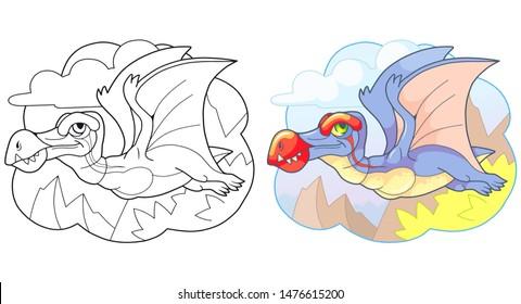 cartoon cute prehistoric dinosaur pterosaur, funny illustration