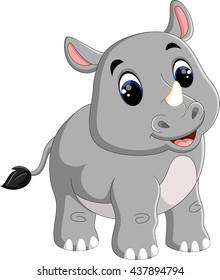 Cartoon cute rhino sitting