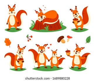 Cartoon cute squirrels. Little funny squirrels.  illustration on a white isolated background