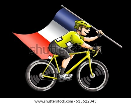 Cartoon Cyclist wearing winner s Yellow Jersey and carrying the French Flag 37c7d0855