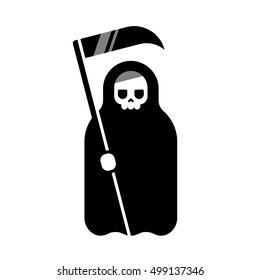 Cartoon Death with scythe icon. Black and white flat geometric illustration.