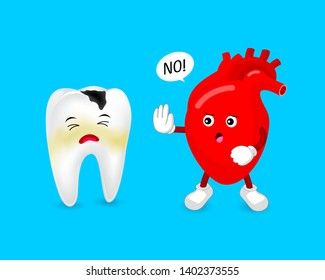 Cartoon decay tooth character with human heart. Oral health and heart disease are connected. Vector Illustration design isolated on blue background.