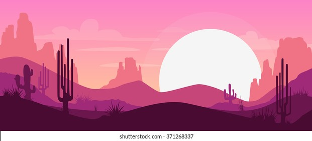 Cartoon desert landscape with cactus, hills and mountains silhouettes, nature horizontal background