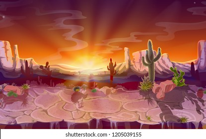 cartoon desert landscape, seamless horizontal game background, panorama with nature, mountains, cactus, rocks, sunset sky, canyon with dry ground. Wild west, prairie scene illustration