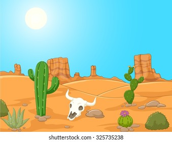 Cartoon desert landscape, wild west illustration