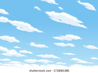 Cartoon design. Clear blue sky with fluffy clouds background.