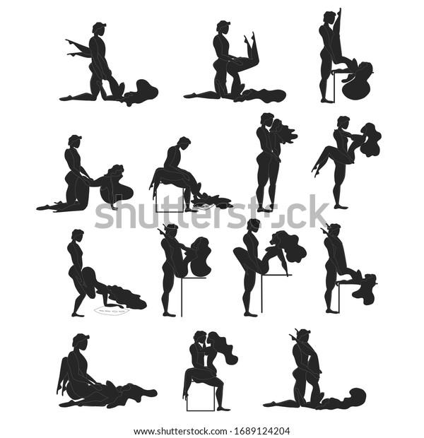 Caricatura Diferentes Poses Sexuales El Concepto De La Pasión Erótica Kamasutra Posa Chapucero Para Hacer El