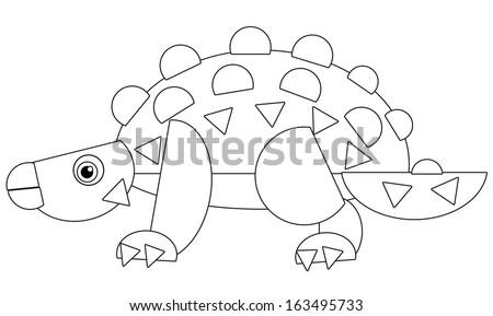 Cartoon Dinosaur Coloring Page Illustration Children Stock