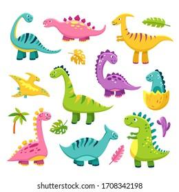 Cartoon dinosaur. Cartoon cute baby dino triceratops prehistoric wild animals brontosaurus isolated dinosaurs funny characters