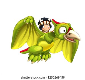 Cartoon dinosaur pterodactyl and caveman flying on his back - on white background - illustration for children