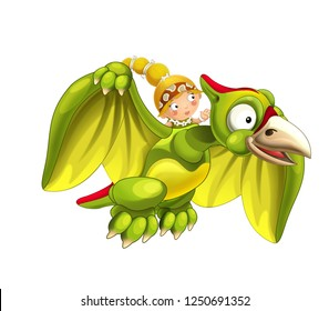 Cartoon dinosaur pterodactyl and caveman woman flying on his back - on white background - illustration for children