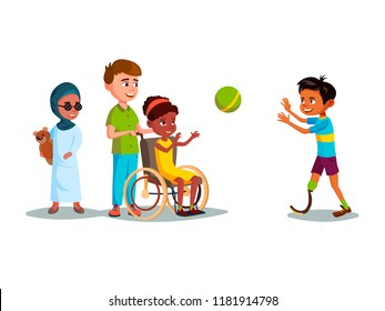 cartoon disabled teen kids characters restriction of movement medical equipment. African girl wheelchair plays boy leg prosthesis, blind female khaliji muslim character in hijab with bear toy.