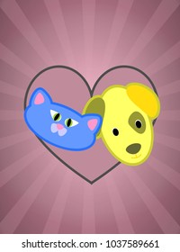 Cartoon dog and cat posters for pet lovers, pet shops or vets