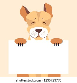 Cartoon dog character holding banner with sample text in pawns flat . Lovely purebred cute pet illustration for shop or veterinary clinic ad