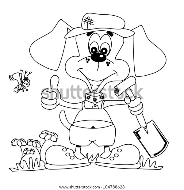 Cartoon Dog Gardening Outline Colouring Book Stock Illustration 104788628