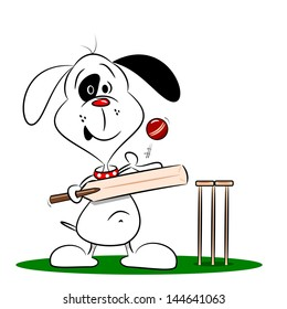 A cartoon dog playing cricket on a white background
