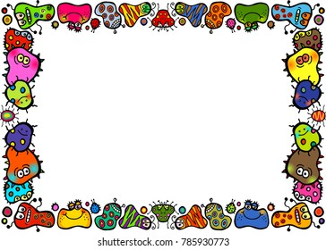 A cartoon doodle bacteria border for health projects.