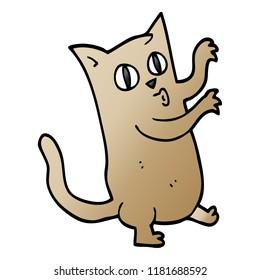 cartoon doodle dancing cat