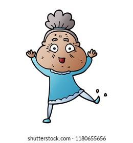 cartoon doodle dancing old lady