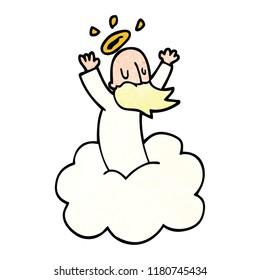 cartoon doodle god on cloud