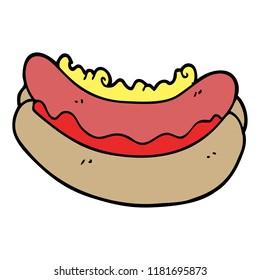 cartoon doodle hotdog in a bun