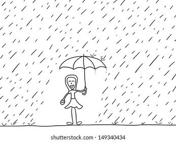 Cartoon doodle illustration - happy woman in the rain. Rainy weather.