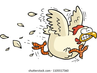 Cartoon doodle running chicken on a white background illustration