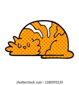 cartoon doodle sleepy cat