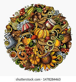Cartoon doodles Autumn illustration. Colorful detailed, with lots of objects background. Bright colors fall funny picture