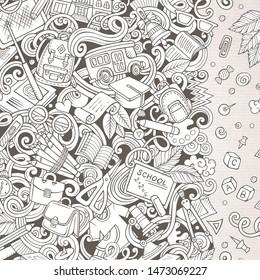 Cartoon doodles Back to school frame. Sketchy education funny border