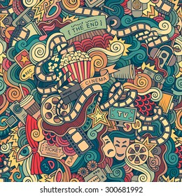 Cartoon doodles hand drawn cinema, movie, film seamless pattern. Endless background