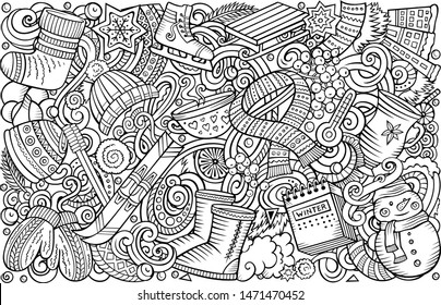 Cartoon doodles Winter vertical horizontal stripe illustration. Line art detailed, with lots of objects illustration.