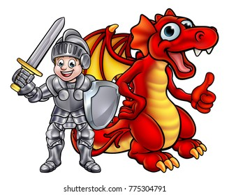Cartoon dragon and knight boy in his suit of armour holding a sword and shield