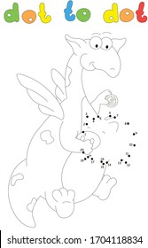 Cartoon dragon puts coins into a piggy bank. Coloring book and dot to dot educational game for kids