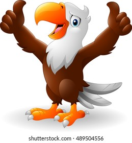 Cartoon eagle giving two thumbs up
