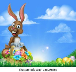 Cartoon Easter Background. Easter bunny with a basket full of decorated chocolate Easter eggs in a field