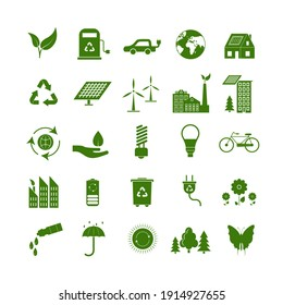 Cartoon Ecology Signs Green Icons Set Ecological Power Concept Flat Design Style. illustration of Eco Symbol Icon