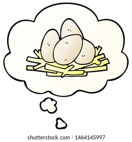 cartoon eggs in nest with thought bubble in smooth gradient style