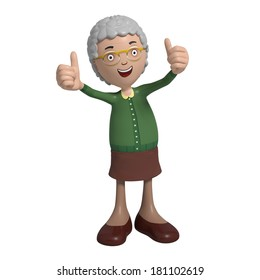 Cartoon of elderly lady in green cardigan showing thumbs-up