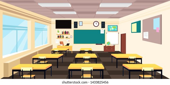 Cartoon empty classroom, high school room interior with desks and blackboard. Education concept. Classroom education school, class with table illustration