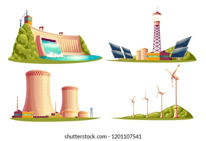 cartoon energy stations - alternative, renewable traditional. Set of isolated illustrations, solar panel plant, hydroelectric power dam, windmill turbines, nuclear power reactors, cooling tower