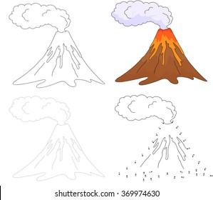 Cartoon erupting volcano. Dot to dot educational game for kids. illustration