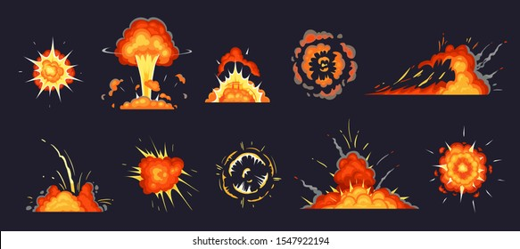 Cartoon explosion. Exploding bomb, atomic explode effect and comic explosions smoke clouds. Destruction explosion animation, comic bomb fire flame. Isolated  illustration icons set