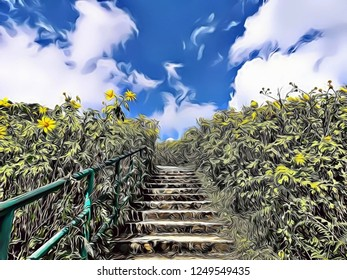 Cartoon expressionist illustration of beautiful stair in the middle of nature with blossoming of wild sunflowers and cloudy blue sky