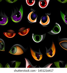 Cartoon eyes beast devil monster animals eyeballs of angry or scary expressions evil eyebrow and eyelashes on face scared snake or dracula vampire animal eyesight seamless pattern background