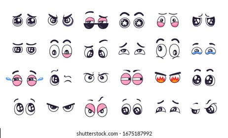 Cartoon eyes. Comic funny expression eyes with various emotions, crying eyes, laughing, angry and cute winking eyes isolated  illustration set. Expressive vision. Staring, looking