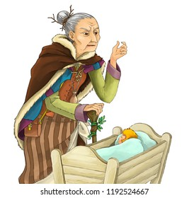 cartoon fairy tale character - bad witch or sorceress standing near sleeping baby in wooden cradle on white background - illustration for children