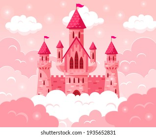 Cartoon fairy tale pink castle. Magic fairytale medieval tower, princess castle in pink clouds  fabulous illustration. Majestic pink castle
