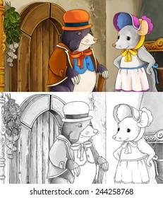 cartoon fairy tale scene mole 260nw