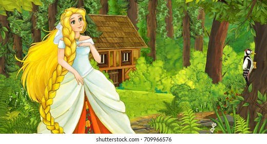 Cartoon fairy tale scene with a young lady princess standing in the forest looking and smiling - illustration for children